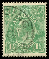 Lot 1444:1½d Green Die I - [17L28] Coloured flaw at highest point of right curve and coloured line to right of top left angle.