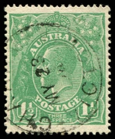 Lot 299:1½d Green Die I - [17L51] Coloured flaw above right wattle spray etc, cancelled with framed 'CHARAM/MY23/24/VICTORIA