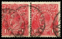 Lot 1870:1½d Red Die I - BW #89(24)la [24R31-32] pair, unit 32 with White flaw on kangaroo's rump - retouched, Cat $35.