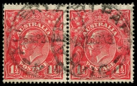 Lot 1853:1½d Red Die I - BW #89(24)d [24L7-8] pair, unit 7 with Large white flaw above left wattles and unit 8 with Dark band flaw - State III - retouched, this state is worthy of catalogue status, Cat $25.