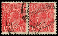 Lot 1860:1½d Red Die I - BW #89(24)g [24L49-50] pair, unit 50 with White flaw on kangaroo's left ear, Cat $25+.
