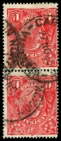 Lot 505:1½d Red Die I - BW #89(24)f [24L37-43] vertical pair, unit 37 with Cracked electro in right side of crown - late state, Cat $100.