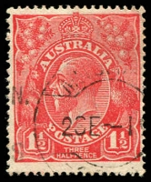 Lot 1544:1½d Red Die I - [17L14] White flaw at left edge of top left leaflet of right wattles - State II - white spot at 7 o'clock on bottom bloom of left wattles.