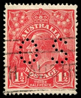 Lot 356:1½d Red Die I - [17L17] White flaw on back of King's head, perf 'OS'.
