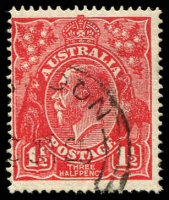 Lot 1579:1½d Red Die I - [17L28] Coloured flaw at highest point of right curve and coloured line to right of top left angle.