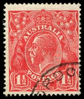 Lot 1590:1½d Red Die I - [17L53] Scratch from point of neck to O of POSTAGE.