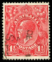 Lot 413:1½d Red Die I - BW #89(17)t [17R28] Notched NW corner - ACCC State II - blurred flaw at bottom of King's neck, Cat $25.