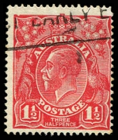 Lot 412:1½d Red Die I - BW #89(17)t [17R28] Notched NW corner - ACCC State I, Cat $25.