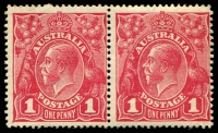 Lot 1085:1d Red Smooth Paper - BW #71(4)k,l [VIII13-14] pair, unit 13 with Distorted ONE PENNY and unit 14 with Thin ONE PENNY (retouch), Cat $150, unit 13 with hinge remainder and unit 14 with vertical crease.