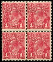 Lot 1034:1d Red Smooth Paper - BW #71(3)na [VI21-22, 27-28] block of 4, unit 21 with Dot before right 1 and unit 22 with Thinned left frame, Cat $250+, only upper pair with hinge remainder, some perf separation of upper pair.
