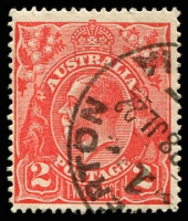 Lot 2454:2d Red Die I - BW #96(12A)g [12AL44] Split in left frame near top (flaw over LI of ALIA not apparent - Postmark dated 28 Jul 1922 which is about 5 months prior to recorded copies of flaw.), Cat $50.