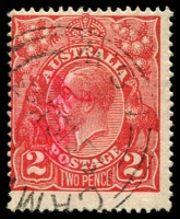 Lot 2098:2d Red Die I - [12AR26] Angled triangle in crown top etc. - State II, some magenta scribble on face of stamp.