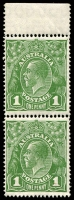 Lot 2409:1d Green - BW #80a Watermark inverted, upper marginal vertical pair with selvedge, Cat $100, upper unit with crease, lower unit with small tone spot.