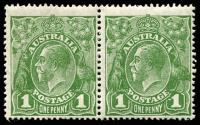 Lot 803:1d Green - BW #80(3)m [VI/20-21] unit 21 with Dot before right 1, Cat $75+.