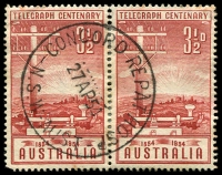 Lot 1322:Concord Repatriation Hospital: - 'CONCORD REPAT HOSP/27AP54/N.S.W-AUST' on 3½d Telegraph pair.  Renamed from Concord Military Hospital PO 8/1/1951; closed 6/1/1994.