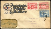 Lot 1081:Sydney Harbour Bridge (1): 'SYDNEY HARBOUR BRIDGE/21MAR/6 PM/1932/N.S.W. - POSTED ON BRIDGE/DURING OPENING/CELEBRATIONS' machine cancel on 2d Bridge & 2d typo Bridge and '[SYDN]EY HARBOUR BRIDGE/???P21MR32/1' on 3d blue Bridge 5th Australian Philatelic Exhibition cover with gold label.  PO 19/3/1932; closed 2/4/1932.