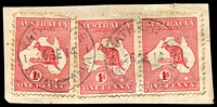 Lot 1120:Katherine (1): 2 strikes of 'KATHERINE/26SE14/STH AUSTRALIA' on 1d Roo x3 (one pair). [Rated 2R]  PO 1/4/1883; closed 4/1/1925.