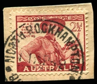 Lot 1691:North Rockhampton: - 'NORTH ROCKHAMPTON/11AP49/QU[EENSLAND]' on 2½d Jamboree. [Rated R]  RO c.1876; PO 1/4/1884; renamed Rockhampton North PO c.-/11/1959.