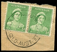 Lot 1712:Townsville R.A.A.F. P.O.: - 'R.A.A.F.P.O. TOWNSVILLE/13JE41/QLD-AUST' on 1d green QE pair.  PO 3/2/1941; renamed Garbutt R.A.A.F. P.O. PO 12/10/1942.