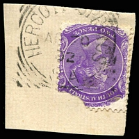 Lot 1509:Hergott Springs: - 27mm squared-circle 'HERGOTT SPRINGS/AP20/02/S.A' (no bar on 'G's) on 2d violet DLR (corner missing).  PO c.1884; renamed Marree PO 1/7/1918.