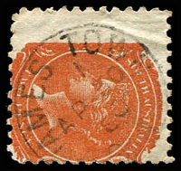 Lot 1529:Jamestown: framed 'JAMES TOWN/1/AP30/80/S_A' (sic; 2 words) on 2d orange DLR. [Rated R]  PO c.1872.