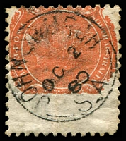 Lot 1531:Johnsburg: squared-circle 'JOHNSBURGH/OC2/80/S_A' (sic) on 2d orange DLR. [Rated 2R]  PO 1/8/1879; closed 30/3/1967.