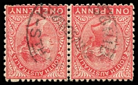 Lot 9657:Knightsbridge: - 'KN[IGH]TSBRIDGE/1215A25AU10/STH A[US]' on 1d red pair. [Rated 4R]  PO 1/3/1882; closed 23/5/1911.