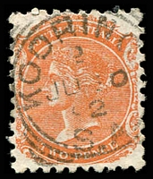 Lot 8519:Kooringa: - 23mm 'KOORINGA/2/JU30/92/S_A' on 2d orange DLR. [Rated 2R]  Renamed from Burra Burra PO c.1849; renamed Burra PO 1/12/1939.