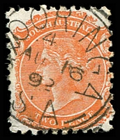 Lot 8520:Kooringa: - 25mm squared-circle 'KOORINGA/4/AU16/92/S_A' (ERD, bar on G) on 2d orange DLR.  Renamed from Burra Burra PO c.1849; renamed Burra PO 1/12/1939.