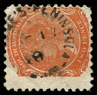 Lot 1566:Le Fevre's Peninsula (1): unframed '[LE FEV]RE'S-PENINSULA/OC17/?8/S.A' on 2d orange DLR. [Rated 2R]  PO 12/3/1856; renamed Glanville PO 1/9/1896.