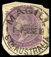 Lot 1586:Magill: - 'MAGILL/1-P-2SE10/STH AUSTRALIA' (ERD) on 2d violet DLR. [Rated R]  PO 3/1/1850; LPO 29/6/1998.