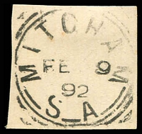 Lot 8610:Mitcham: - 24mm squared-circle 'MITCHAM/FE9/92/S_A' on piece. [Rated 2R]  PO 3/1/1850; closed 6/4/1988.