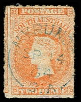 Lot 1655:Myponga: blue 21mm unframed 'MYPUNGA/SP14/64/S.A' (sic) on 2d Roulette PB. [Rated 2R]  PO 13/5/1844.