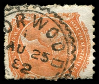 Lot 1677:Norwood: cogwheel '[N]ORWOOD/1/AU25/82/S_[A]' on 2d orange DLR. [Rated R]  PO 1/8/1853.