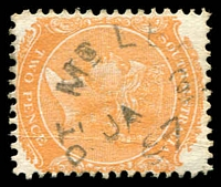 Lot 1710:Point McLeay: unframed 'PT MC LEA[Y]/JA2/97/[S_A]' on 2d orange DLR. [Rated R]  PO 1/7/1866; closed 1/7/1974.