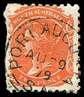 Lot 8743:Port Augusta: - 23mm framed 'PORT AUGUSTA/AU29/79/S.A' on 2d orange DLR. [Rated R]  PO c.-/7/1856.
