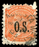 Lot 9944:Port Augusta West: - 24mm squared-circle 'PT AUGUSTA WEST/MY24/93/S_A' on 2d orange DLR 'O.S.' opt. [Rated R]  PO c.1878.