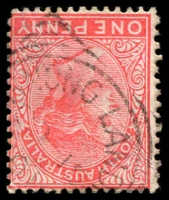 Lot 1827:Purnong Landing: - squared-circle '[PU]RNONG LAND[ING]/OC15/01/[S_A]' on 1d red. [Rated 2R]  PO 14/5/1898; closed 30/6/1975.