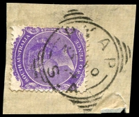 Lot 1828:Pyap: - squared-circle 'PYAP/MY10/04/S_A' on 2d violet DLR. [Rated R]  PO 1/10/1894.