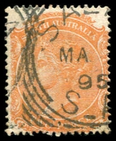 Lot 1859:Saltia (2): - squared-circle 'SAL[TIA]/MA??/95/S_A' on 2d orange DLR. [Rated 2R]  PO 1/8/1880; closed 13/5/1918.