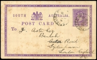 Lot 1881:Stirling West: - 2 strikes of framed 'STIRLING WEST/2/FE8/93/S.A' on 1d violet Post Card (toned), addressed to England.  PO 1/4/1880; renamed Stirling PO 15/8/1966.