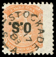Lot 1883:Stockade: - unframed 'STOCKADE/AP17/88/S_A' on 2d orange DLR opt 'O.S.'.  PO c.1872; closed 30/9/1907.
