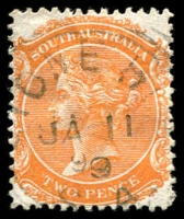 Lot 1885:Stone Hut: - 24m squared-circle 'STONE HUT/JA11/99/S_A' on 2d orange DLR. [Rated 2R]  PO c.-/4/1874; closed 28/2/1974.