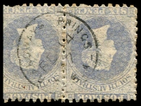 Lot 1886:Strangways Springs (3): - framed 'STRANGWAYS SPRINGS/FW14/87/S_A' on 6d blue PB pair. [Rated 3R]  PO c.1874; closed 24/9/1896.