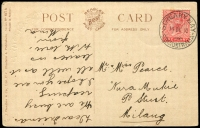 Lot 1889:Streaky Bay: - 'STREAKY BAY/14DE10/STH AUSTRALIA', on 1d red on multicoloured PPC 'Hands Across the Sea' Beagles & Co. card, corner and edge faults.  PO 1/10/1862.