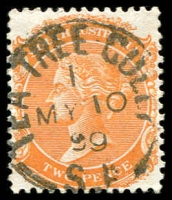 Lot 10372:Tea Tree Gully (1): - 23mm framed 'TEA TREE GULLY/1/MY10/99/S_A' on 2d orange DLR. [Rated R]  Renamed from Steventon PO 1/12/1872; renamed Teatree Gully PO 3/9/1925.