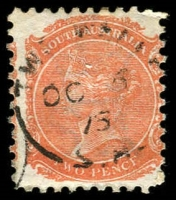 Lot 1915:Two Wells: - 21mm unframed 'TWO-WELLS/OC5/75/S.A' (LRD) on 2d orange DLR. [Rated 2R]  PO 4/12/1860.