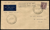 "Lot 1792:Brighton Military Camp (2): 2 strikes of 'MIL.P.O. BRIGHTON/11JA47/TAS-AUST' on 1d purple-brown QE on plain cover endorsed ""LAST DAY COVER/Post Office Closed"" & bearing boxed 'DEPARTMENT OF THE ARMY/CONCESSION POSTAL RATE' (A1).  PO 17/10/1939; closed 11/1/1947."