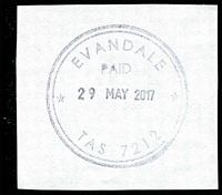 Lot 1801:Evandale: 37mm double-circle 'EVANDALE/PAID/29MAY2017/TAS 7212' on piece.  PO 1/6/1835.
