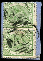 Lot 10946:1039: 2 partially overlapping strikes of 'M39' on 1d green Bell pair. [Rated R]  Allocated to Boweya-PO 24/11/1877; renamed Mokoan PO 1/9/1880; RO 24/5/1919; closed 31/12/1924.